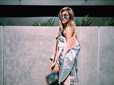 Eyewear, Goggles, Human body, Sunglasses, Fashion accessory, Street fashion, Fashion, Cool, Guitar, Bag,