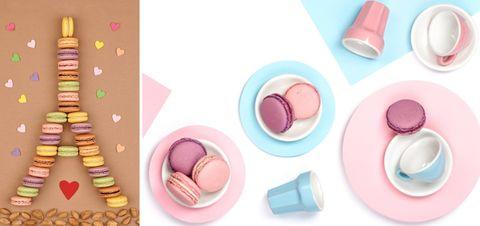 Pink, Sweetness, Macaroon, Peach, Dessert, Finger food, Baked goods, Cuisine, Baking cup, Petit four,