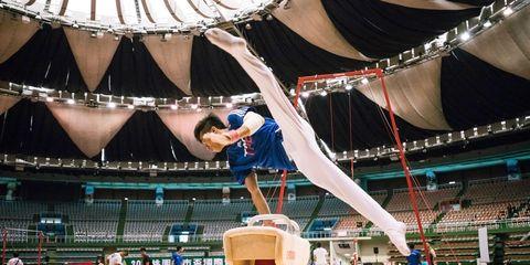 Gymnastics, Artistic gymnastics, Performance, Acrobatics, Competition, Championship, Balance, Vault (gymnastics), Audience, Arena,