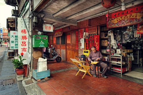 Building, Town, Street, Convenience store,