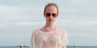 Clothing, Blue, Brown, Sleeve, Shoulder, Textile, Denim, Coastal and oceanic landforms, Summer, Fashion accessory,