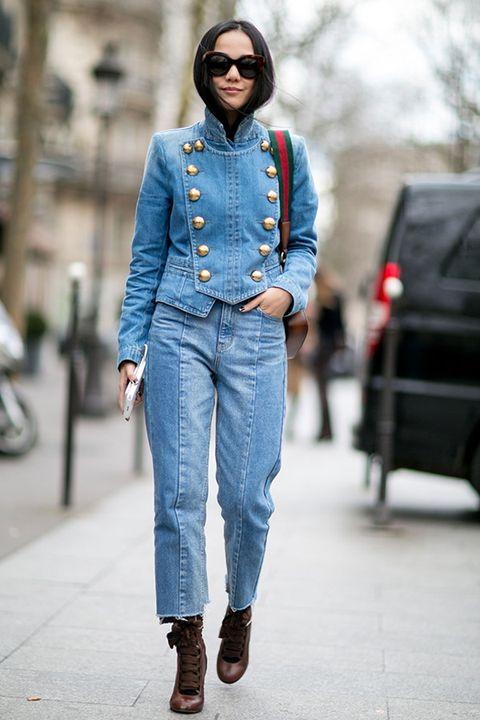 Clothing, Eyewear, Denim, Textile, Collar, Outerwear, Jeans, Sunglasses, Street fashion, Style,