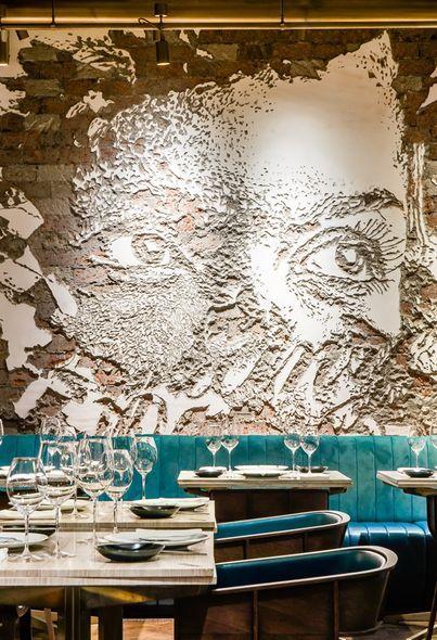 Interior design, Furniture, Wall, Turquoise, Teal, Art, Paint, Interior design, Dishware, Painting,