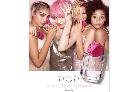 Eye, Hand, Pink, Eyelash, Beauty, Magenta, Blond, Hair accessory, Nail, Bottle,