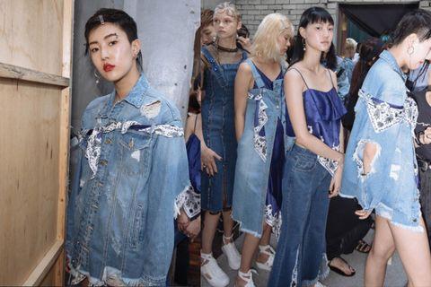 Denim, Jeans, Clothing, Fashion, Textile, Fashion design, Dress, Event, Fashion model, Street fashion,