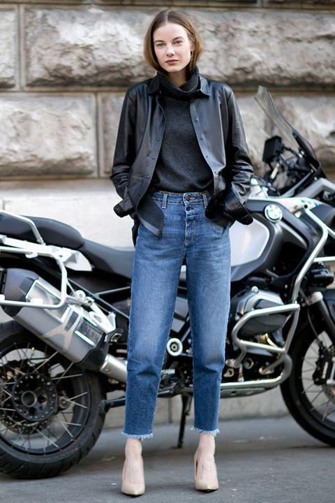 Land vehicle, Motorcycle, Trousers, Jacket, Automotive design, Automotive tire, Shirt, Textile, Outerwear, Denim,