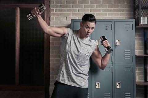 Shoulder, Wrist, Elbow, Hand, Standing, Joint, Muscle, Chest, Home door, Locker,