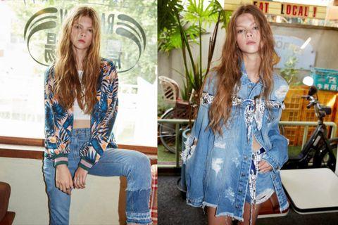Clothing, Jeans, Denim, Shoulder, Textile, Street fashion, Fashion, Dress, Long hair, Shorts,
