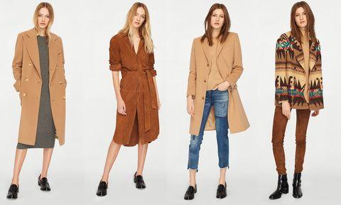 Clothing, Fashion model, Fashion, Outerwear, Coat, Khaki, Brown, Beige, Fashion design, Overcoat,