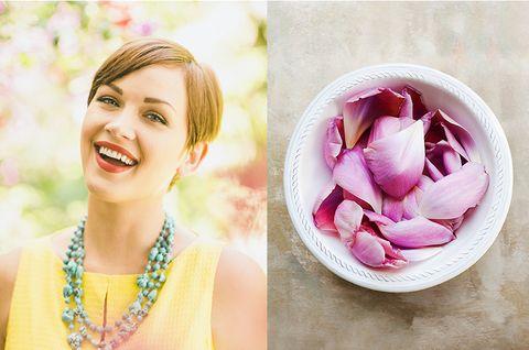 Petal, Photograph, Happy, Pink, Facial expression, Beauty, Magenta, Fashion accessory, Purple, Jewellery,