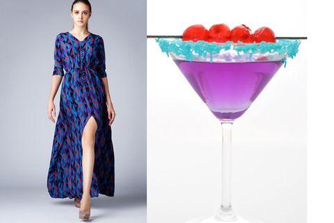 Clothing, Blue, Liquid, Dress, Shoulder, Drinkware, Drink, Glass, Formal wear, Martini glass,