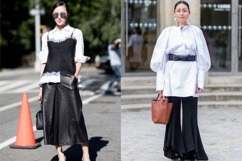 Clothing, White, Street fashion, Fashion, Black-and-white, Dress, Outerwear, Blouse, Haute couture, Monochrome photography,