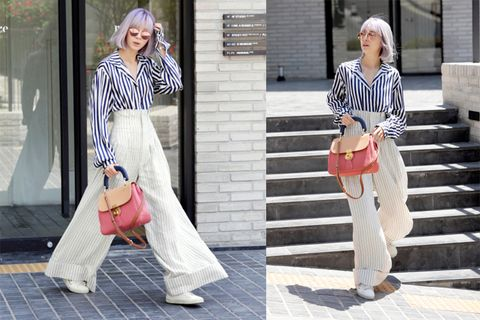 Clothing, Trousers, Shoulder, Stairs, Textile, Outerwear, Bag, Style, Street fashion, Pattern,