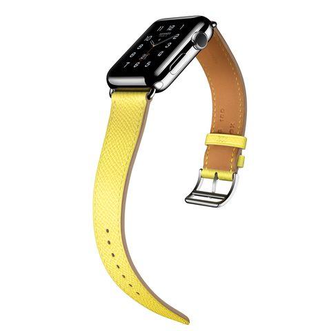 Yellow, Fashion accessory, Strap, Watch, Jewellery, Belt, Analog watch,