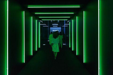 Green, Standing, Light, Darkness, Neon, Walking, Symmetry, Shadow,