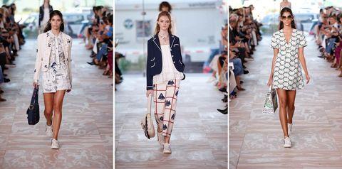 Fashion model, Clothing, Fashion, Street fashion, Runway, Footwear, Summer, Outerwear, Dress, Blazer,