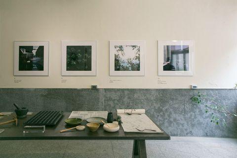 Room, Table, Tableware, Picture frame, Dishware, Kitchen utensil, Serveware, Paint, Plywood, Ceramic,