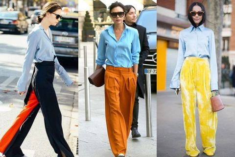 Clothing, Street fashion, Fashion, Yellow, Orange, Denim, Jeans, Trousers, Workwear, Textile,