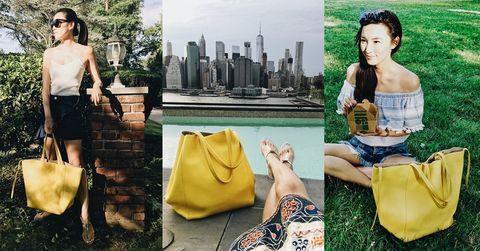 Yellow, Fashion, Bag, Handbag, Fashion model, Photography, Fashion accessory, Style, Photo shoot, Tote bag,