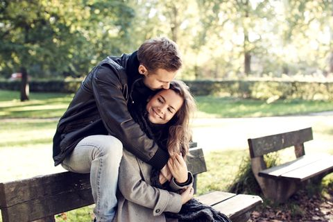 Happy, Sitting, People in nature, Interaction, Romance, Honeymoon, Love, Friendship, Outdoor furniture, Bench,