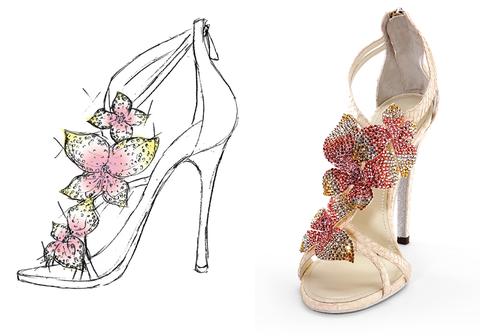 Footwear, Pink, Beige, Natural material, Dancing shoe, Bridal shoe, Fashion design, Sandal, Glitter, Silver,