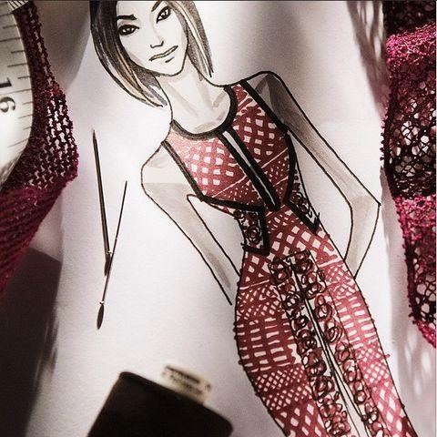 Style, Magenta, Art, Chest, Fashion illustration, Long hair, Fashion design, Makeover, Embellishment, Day dress,