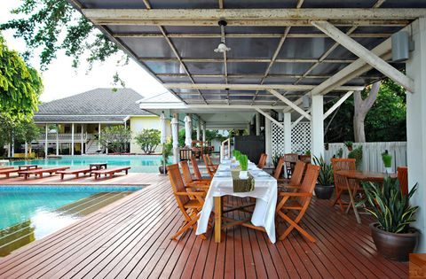 Wood, Property, Swimming pool, Flowerpot, Furniture, Real estate, Resort, Hardwood, Outdoor furniture, Chair,