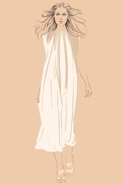 Sleeve, Shoulder, White, Dress, Style, Fashion illustration, One-piece garment, Costume design, Day dress, Long hair,