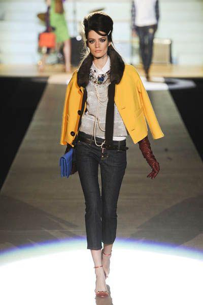 Brown, Fashion show, Denim, Joint, Outerwear, Style, Fashion model, Jacket, Runway, Street fashion,