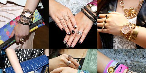 Finger, Wrist, Hand, Pattern, Fashion accessory, Nail, Style, Pink, Denim, Nail care,