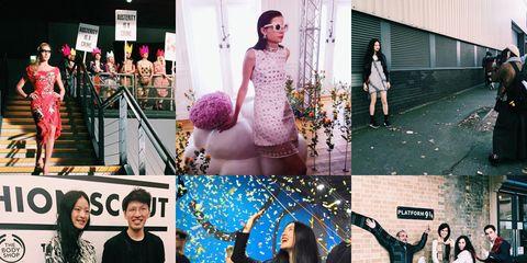 Arm, Human body, Collage, Pink, Dress, Fashion, Purple, Street fashion, Flash photography, Ceremony,