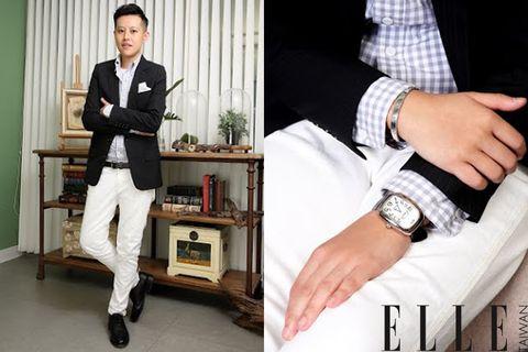 Wrist, Hand, Watch, Dress shirt, Suit trousers, Fashion, Shelf, Beige, Analog watch, Design,