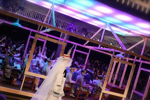 Purple, Magenta, Violet, Dress, Lavender, Bridal veil, Ceremony, Function hall, Veil, Bridal clothing,