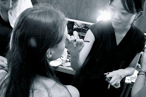 Hair, Ear, Hairstyle, Eyelash, Black hair, Wrist, Nail, Long hair, Bracelet, Makeover,