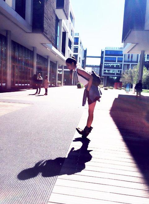Human leg, Shadow, Street, Knee, Tints and shades, Street fashion, Pedestrian, Snapshot, Street stunts, Hip,