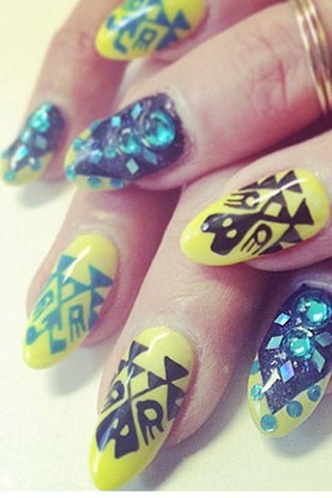 Blue, Green, Finger, Yellow, Liquid, Nail care, Nail, Nail polish, Purple, Teal,