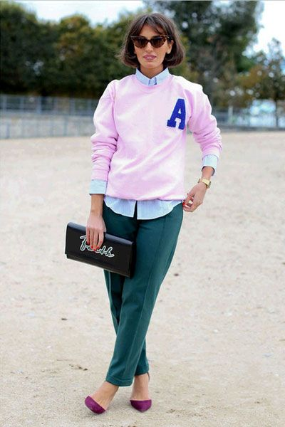 Sleeve, Trousers, Shirt, Outerwear, Sunglasses, Pink, Magenta, T-shirt, Style, Bag,