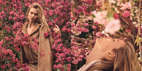 Petal, Lip, Flower, Pink, Red, People in nature, Magenta, Beauty, Spring, Long hair,
