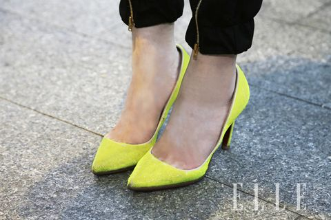 Yellow, Green, Human leg, Fashion, Foot, Close-up, Calf, Ankle, Basic pump, Fashion design,