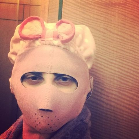 Costume accessory, Headgear, Selfie, Mask, Headband, Knit cap,