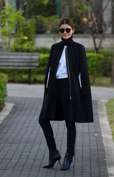Clothing, Footwear, Sleeve, Collar, Coat, Sunglasses, Textile, Outerwear, Style, Street fashion,