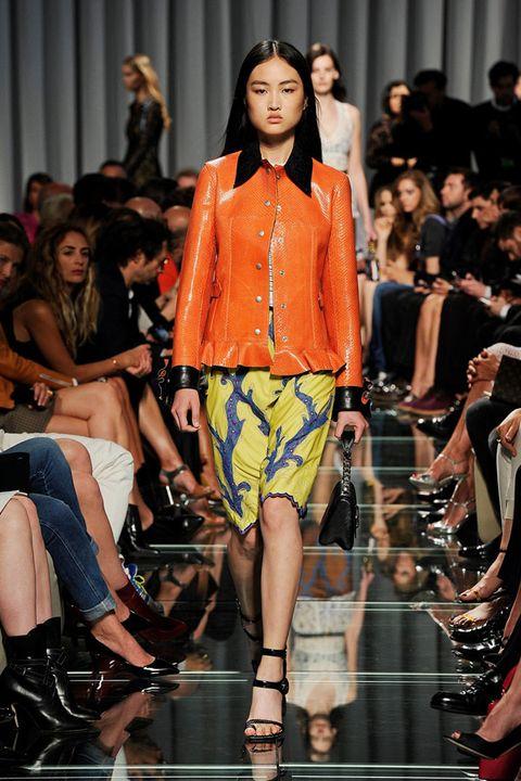 Clothing, Leg, Fashion show, Event, Runway, Human leg, Shoulder, Outerwear, Fashion model, Style,