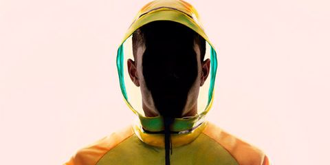 Yellow, Sleeve, Shoulder, Joint, Standing, Red, Personal protective equipment, Fictional character, Carmine, Electric blue,