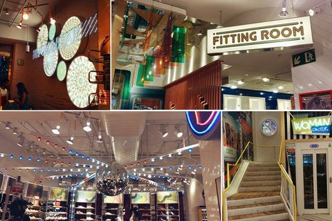 Lighting, Stairs, Ceiling, Interior design, Logo, Light fixture, Retail, Signage, Door, Commercial building,