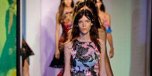 Clothing, Fashion show, Human body, Event, Shoulder, Runway, Dress, Joint, Fashion model, One-piece garment,