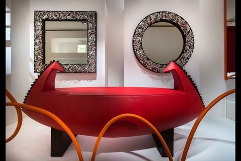 Interior design, Orange, Rectangle, Mirror, Design, Couch, Circle, Armrest, Still life photography, Coffee table,