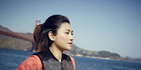 Ear, Hairstyle, Summer, Black hair, Long hair, Travel, Street fashion, Brown hair, Flash photography, Lake,