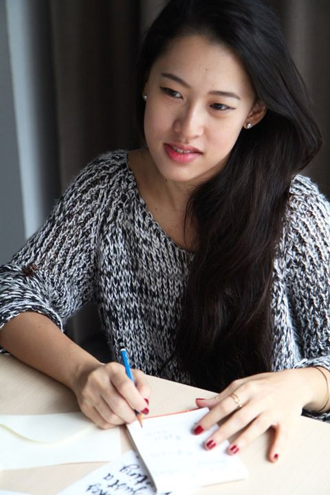 Hand, Black hair, Stationery, Nail, Artist, Watch, Long hair, Curtain, Design, Writing implement,