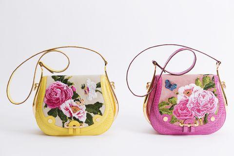 Purple, Pink, Magenta, Lavender, Violet, Creative arts, Craft, Floral design, Needlework, Shoulder bag,