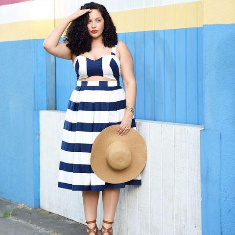 Blue, Dress, Hat, Fashion accessory, Headgear, Costume accessory, Sun hat, Fashion, Electric blue, Street fashion,